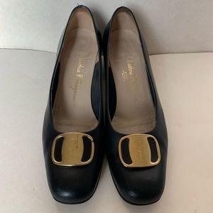 Vintage Salvatore Ferragamo black block heels